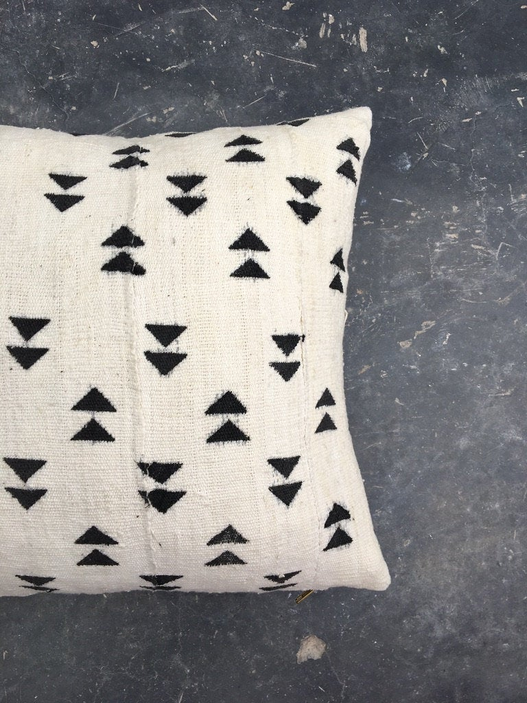 Handmade Vintage African Mud Cloth Throw Pillow In White With Black Triangle Print Studio Unseens